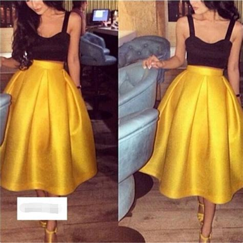 Fashion Satin Two Pieces Prom Dresses Gold Tea Length ...
