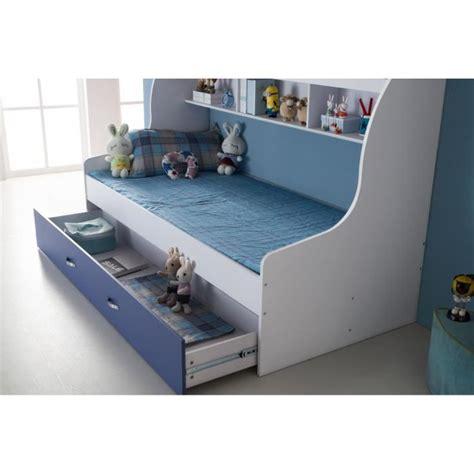 applique murale cuisine lit enfant bleu 90x200 avec tiroir et rangement mural