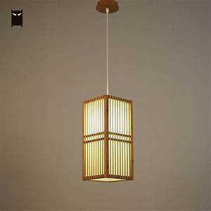 Bamboo, Wicker, Rattan, Square, Shade, Pendant, Light, Fixture, Japanese, Style, Single, Hanging, Ceiling