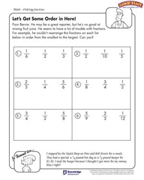 ordering fractions    greatest worksheets