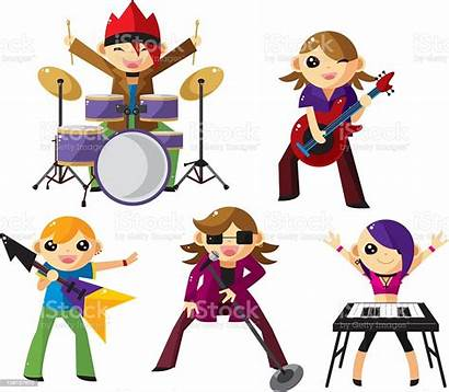 Band Cartoon Rock Vector Illustration Musician Playing