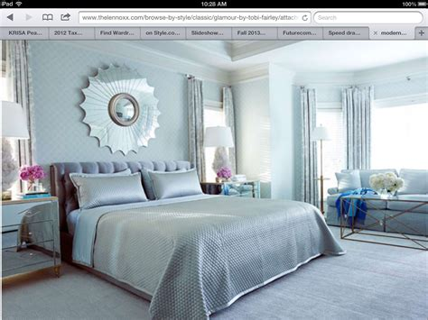 modern chic light blue silver bedroom design sun mirror