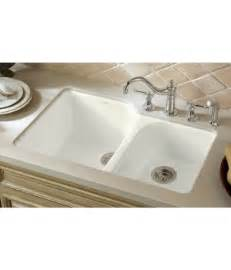 kohler k 5931 4u 0 executive chef cast iron double bowl undermount kitchen sink white