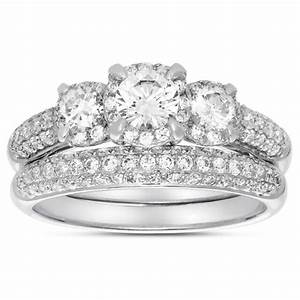 2 carat three stone trilogy round diamond wedding ring set With white gold wedding ring for women
