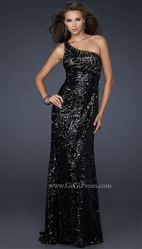 gigi black sequin  shoulder prom dress   la