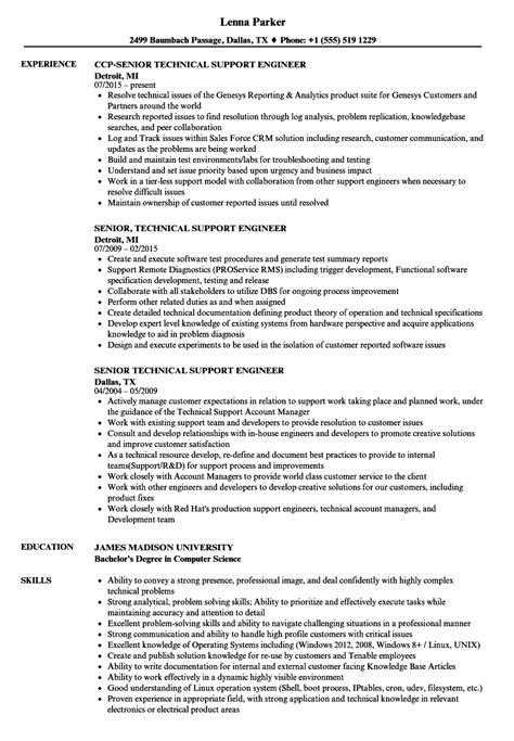 senior technical support engineer resume sles velvet