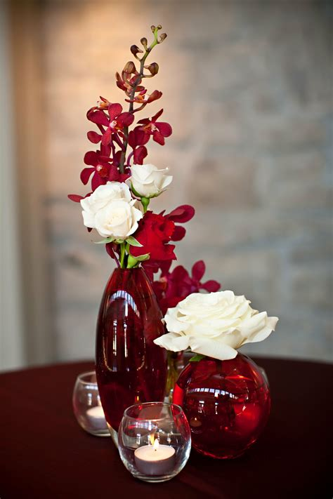 Red White Orchid Rose Centerpieces