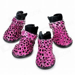 Leopard Zapatos Botas estilo para perros mascotas Deep Pink + Negro (talla L / 4 piezas) sin