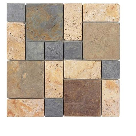 tile home depot jeffrey court block medley 12 in x 12 in x 8 mm slate travertine mosaic wall tile 99123 the