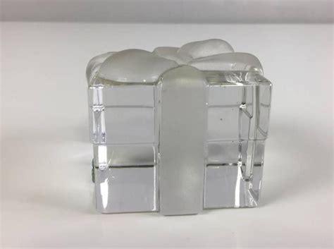 Tiffany and Co. Crystal Gift Box Paperweight at 1stDibs