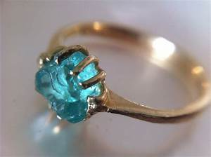 14kt gold rustic aqua rough gem engagement ring recycled With gem wedding rings