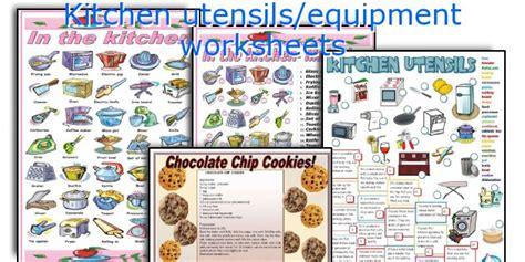 teaching worksheets kitchen utensils equipment