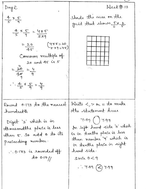 common math 4 today grade 5 solutions week 13