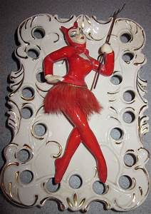 Vintage rare lady devil wall pocket mid century modern ...