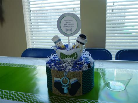 Custom Centerpiece For A Bow Tie Theme Baby Shower