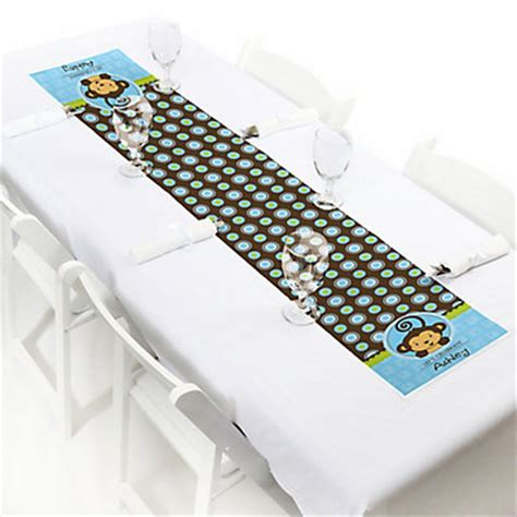 baby shower table runner blue monkey boy personalized party petite table runner