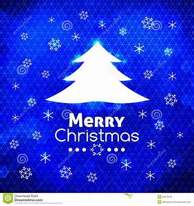 Merry Christmas Tree Card Abstract Blue Background Stock ...