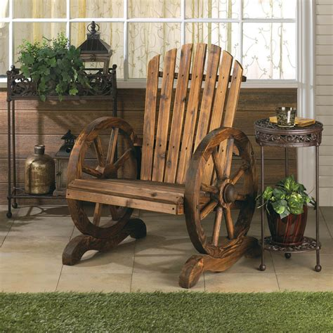 rustic wood wooden country wagon wheel outdoor patio
