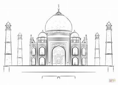 Mahal Taj Palace Drawing Coloring Draw Pages