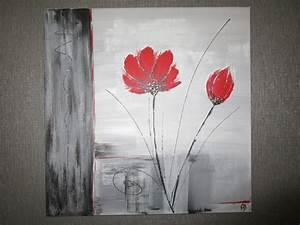 Tableau Fleurs Moderne : tableau moderne gris et rouge la peinture en abstrait ~ Teatrodelosmanantiales.com Idées de Décoration