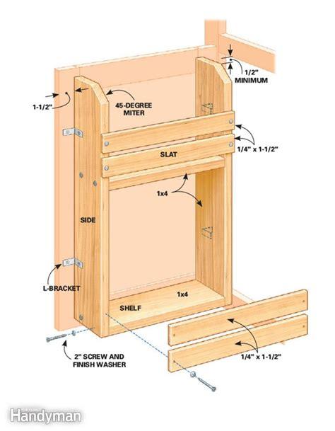kitchen cabinet door storage racks cabinet door storage rack the family handyman 7801