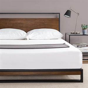 ironline metal and wood platform bed with headboard box With brooklyn bedding box spring