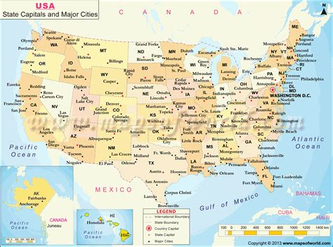 usa states  capital  major cities map travel road
