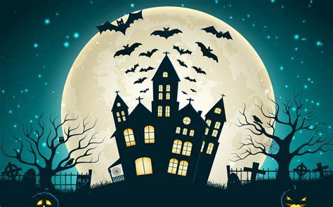 Holiday Halloween Scary House Creepy Full Moon Castle Bats