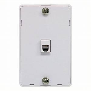 Eagle Phone Jack Wall Plate Modular White Surface Mount 4