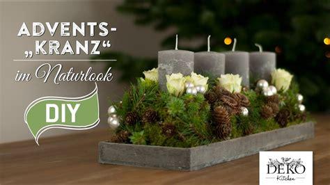 weihnachtsdeko basteln adventskranz im naturlook