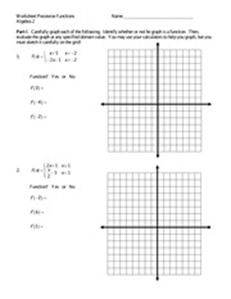 graphing piecewise functions excersice worksheet piecewise functions algebra 2 name part i