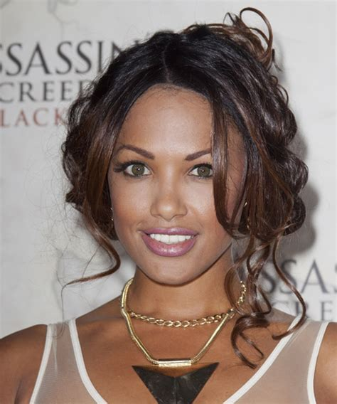 K D Aubert Curly Casual Updo Hairstyle   Dark Brunette