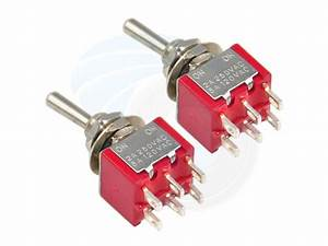2 Pcs Red Double Pole Double Throw Toggle Switch 6 Pins