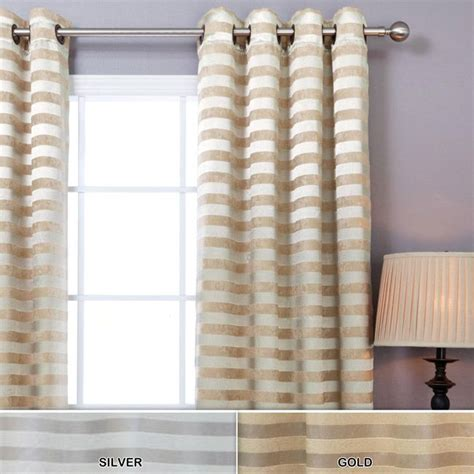 Gold And White Window Curtains by Satin And Suede Stripe Grommet 84 Inch Curtain Pair