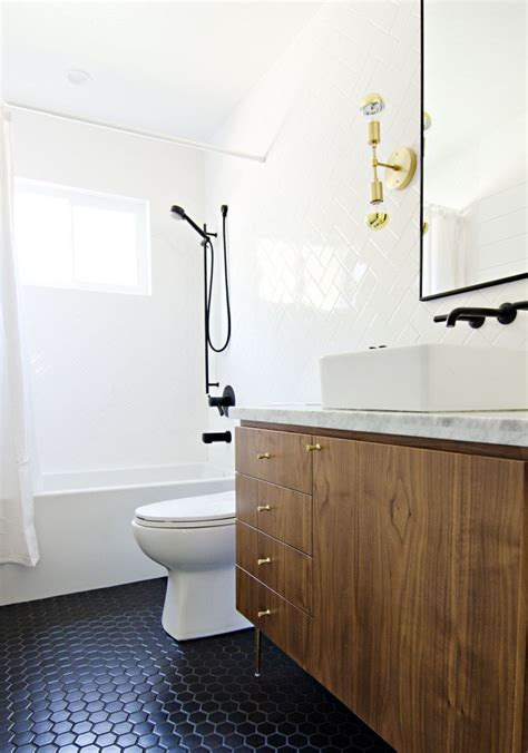 Black Bathroom Floor Tiles by California Modern Brass Wood Marble Bathroom