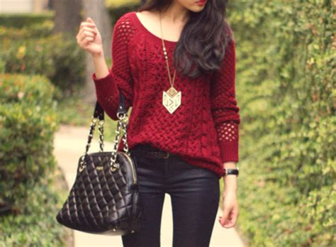 Clothes, Necklace, Bag, Bag, Burgundy, Back To School, Dress, Sweater, Red, Knitted