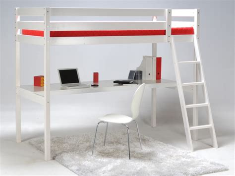 lit mezzanine 2 places avec canapé lit mezzanine prado90x190cm epicéa blanc noir ption matelas