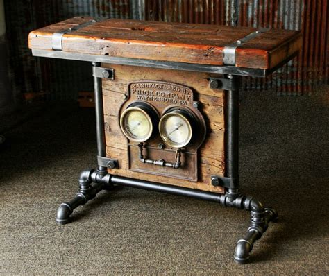 Steampunk Industrial Barn Wood Antique Gauge Board Stand