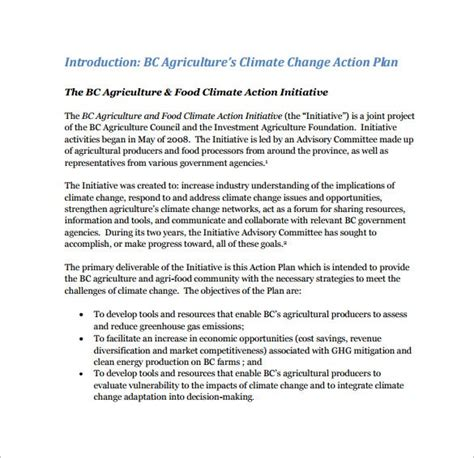 climate action plan templates