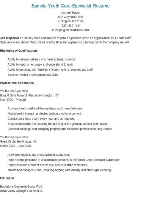 sle youth care specialist resume resame sle resume templates resume sle resume