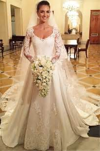 cheap wedding dresses with sleeves princess a line satin wedding dress white lace v neck sleeve cheap bridal gowns a line