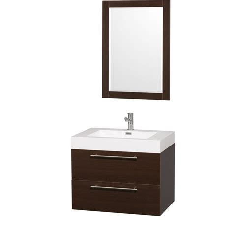 "Amare 30"" Espresso Wall Mounted Bathroom Vanity Set With"
