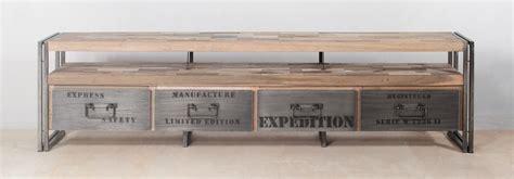bureau style industriel en m騁al et bois 111 meuble tv en bois recycle biblioth que meuble tv en bois massif recycl l 264 cm meubles design en bois recycl tables basses tabourets