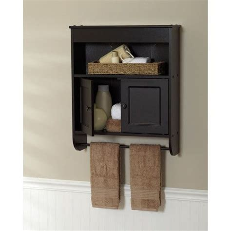 Bathroom Wall Cabinet With Towel Bar by New Espresso Bathroom Wall Cabinet Storage With Towel Rack
