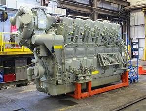 General Electric 12 Cylinder 4400 Horsepower Evolution Series Locomotive Engine As Viewed From