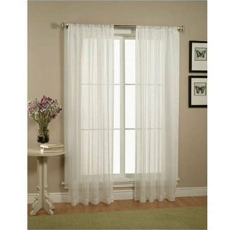 White Curtains Drapes - 2 solid white sheer window curtains drape panels