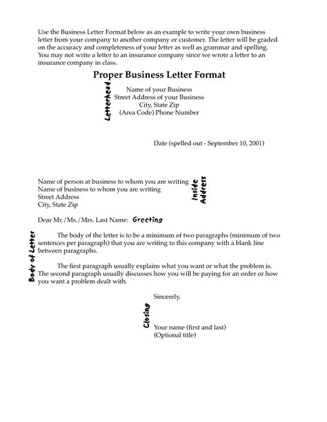 proper format for a business letter business letter outline exle business letter format