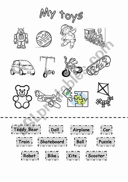 Toys Cut Paste Coloring Worksheet Worksheets English