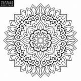 Coloring Mandala Flower Outline Pages Pattern Round Vector Decorative Ornament Shape Yoga Therapy Meditation Unusual Oriental Background Weave Stress Element sketch template