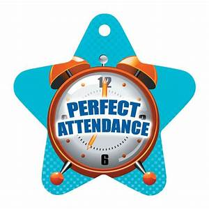 Perfect Attendance Die-Cut Star With Clock Design Tag With ...